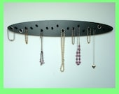 NECKLACE holder rack tree diplay organizer wood 20 pegs LARGE OVAL wall mount
