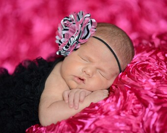 Zebra and Hot Pink Boutique Flower On Black Elastic Headband Free Shipping On All Additional Items