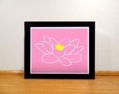 Lotus Flower Print - 8x10 Pink and Yellow Digital Print
