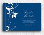 Custom Wedding Invitation - Navy and White Floral Printable