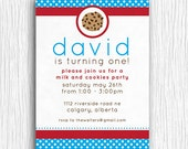 Cookies and Milk Birthday Party Invitation - Red and Blue Printable