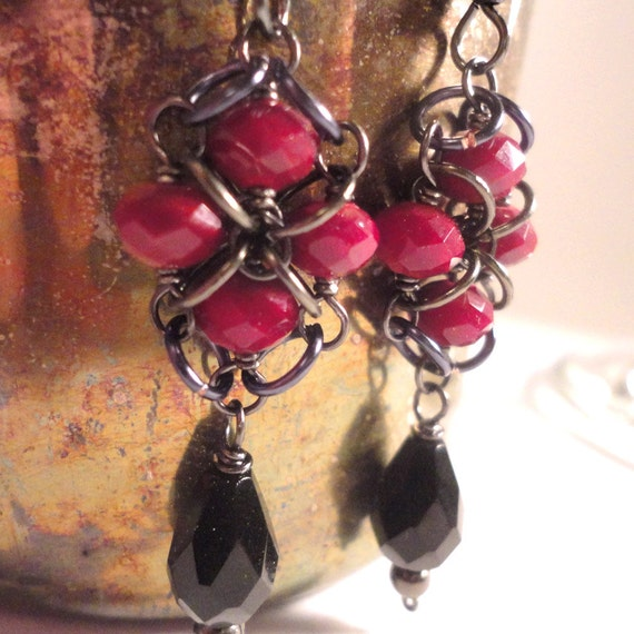Red & Black Gothic Earrings: Quatrefoil Earrings with Red Velvet Crystals and Black Drops