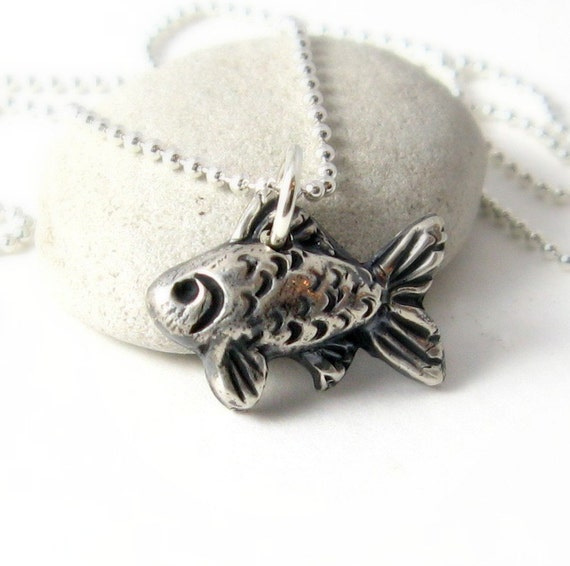 Fish necklace silver koi necklace pmc artisan by for Silver koi fish