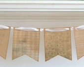 Shabby Chic Pennant Banner - Vintage Elegance in White and Kraft - Vintage Ribbon - Party Home Decor Wedding Decoration Photo Prop