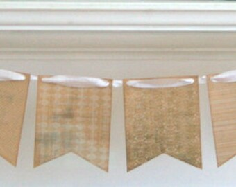 Pennant Banner - Vintage Elegance in White and Kraft - Vintage Ribbon - Wedding Decoration - Photo Prop - Party Event Bunting - Home Decor