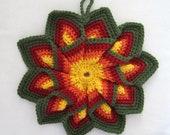 Crocheted Large Hot Pad - Autumn Leaves Twist