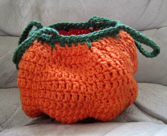Free Crochet Patterns For Trick Or Treat Bags : Crocheted Halloween Pumpkin Trick-or-Treat Bag by ...