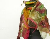 Nuno felted scarf Green Red wine Olive OOAK