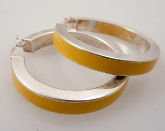 SALE ---- Vintage Sterling & Yellow Enamel Hoop Earrings
