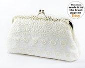 Bridal Ivory Wedding Guipure Lace Clutch 8-inch L'INNOCENTE