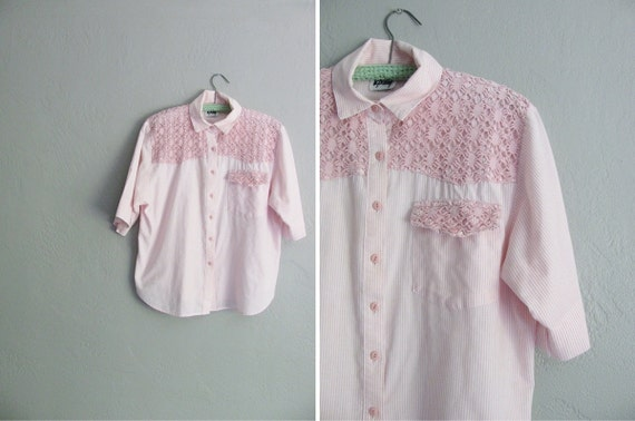 vintage '80s pink & white STRIPED CROP button-up shirt with KNIT trim.