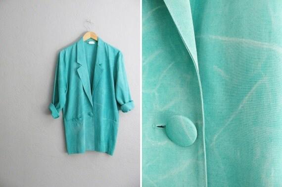 r e s e r v e d . vintage '80s mint green MARBLE TIE DYE slouchy blazer. size m l xl.