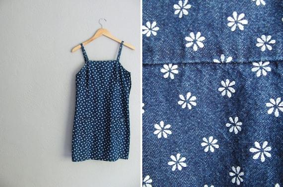 vintage '90s DENIM DAISY print mini SUMMER dress. girl's size m l / women's size s.