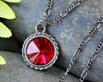 Deep ruby red Swarovski rivoli crystal & gunmetal black necklace- gothic romance - free shipping USA