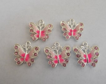 Pink Enamel Butterfly Charms- five charms- silver charms