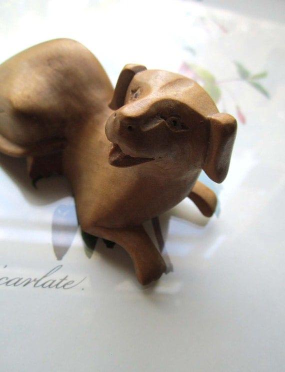 Hand Carved Wood Dog