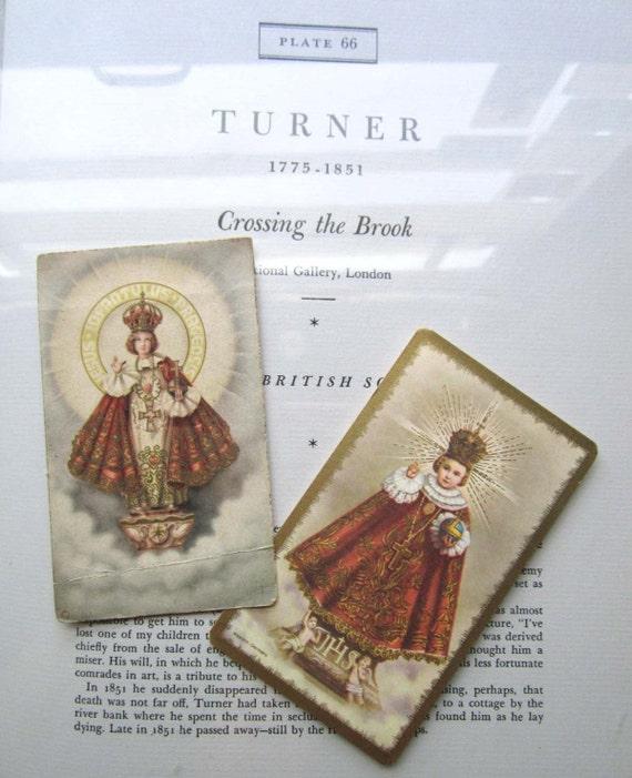Two Vintage Infant Jesus of Prague Prayer  Cards