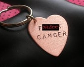 Breast Cancer Gifts, Cancer Awareness, Fuck Cancer Keychain, Gifts Under 25, F Cancer, Copper Heart Keychain, Hand Stamped Jewelry, MATURE