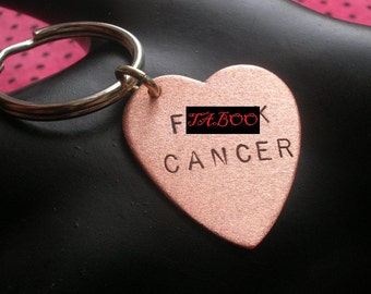 Breast Cancer Gifts, Cancer Awareness, F Cancer Keychain, Gifts Under 25, F You Cancer, Copper Heart Keychain, Hand Stamped Jewelry, MATURE