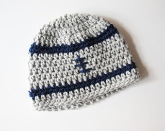 0 to 3 Months Gray and Blue Baby Boy Football Hat Dallas Cowboys Baby Hat NFL Inspired