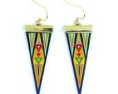 Leather earrings - Native geometric
