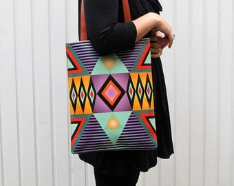 Leather Tote / Laptop bag - Tribal Geometric No.2