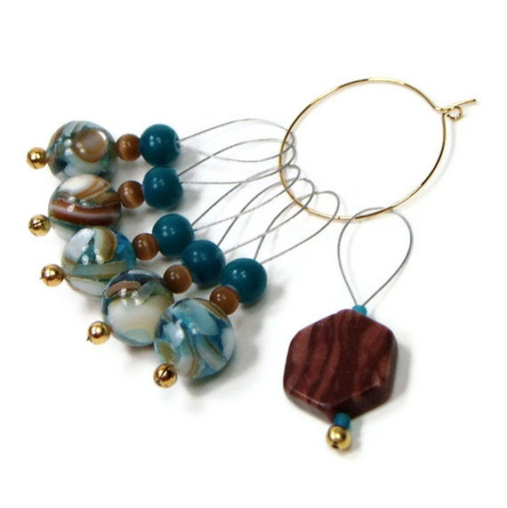 Knitting Stitch Markers Knitting Tool Teal Blue Cocoa Brown