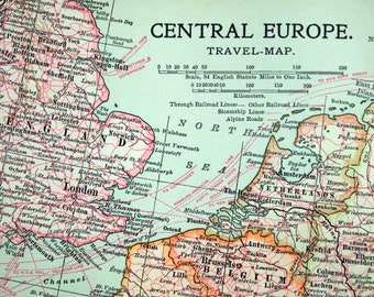 1903 Vintage Map of Central Europe. Antique Europe Map (Central). Travel Map with Steamship and Railway Routes
