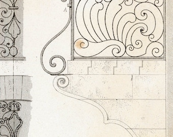 1880 French Antique Engraving of Decorative and Architectural Metalwork. Balcony and Fanlight. Plate 44