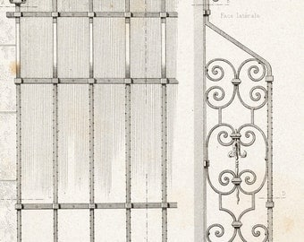 1880 French Antique Engraving of Decorative and Architectural Metalwork. Decorative Window Grill in Strasbourg, France. Plate 45