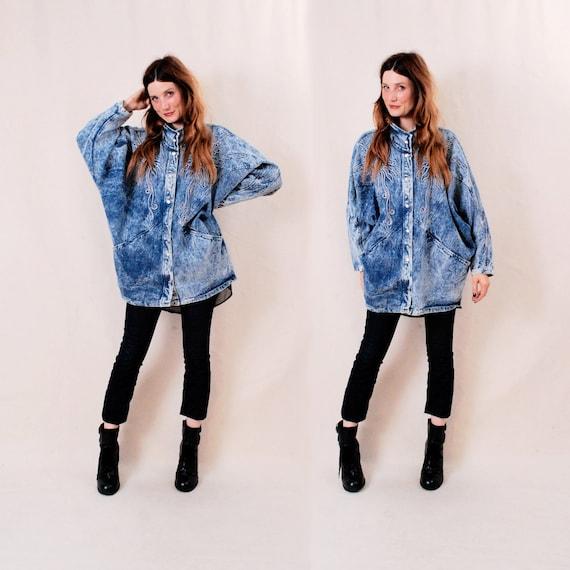 Vintage Batwing Denim Jacket Jean Jacket Coat - studded acid wash, 80's fashion, oversized shape, one size - FREE Worldwide Shipping