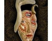 Remember What the Dormouse Said - Porcelain mask sculpture