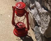 Red Vintage Lantern Jupiter 2 Made in Poland