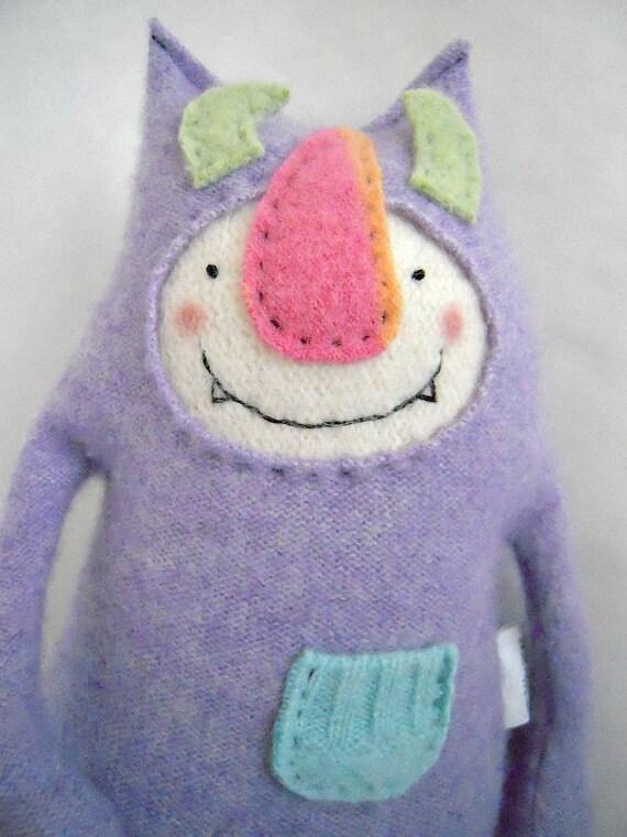 Stuffed Animal Monster from Cashmere Sweater Purple Plush