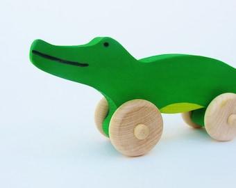 Alligator Push Toy Wooden Eco Friendly Waldorf Crocodile