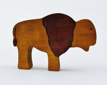 Wooden Buffalo Toy waldorf bison animal figure natural