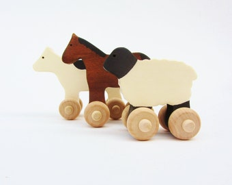 Farmyard Animal Set Wooden Waldorf  Farm Animals Cow Horse Sheep