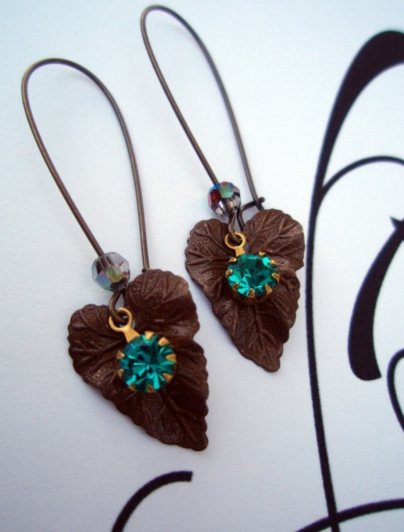 WOODLAND CHIC Peacock, Vintage Art Nouveau Earrings, Blue Zircon Rhinestone Earrings, Peacock Blue Green