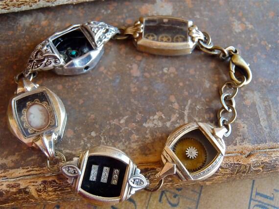 Steampunk Bracelet - In the Works - Steampunk watch parts charm bracelet - Repurposed art made by Steampunkjunq - steampunk jewelry
