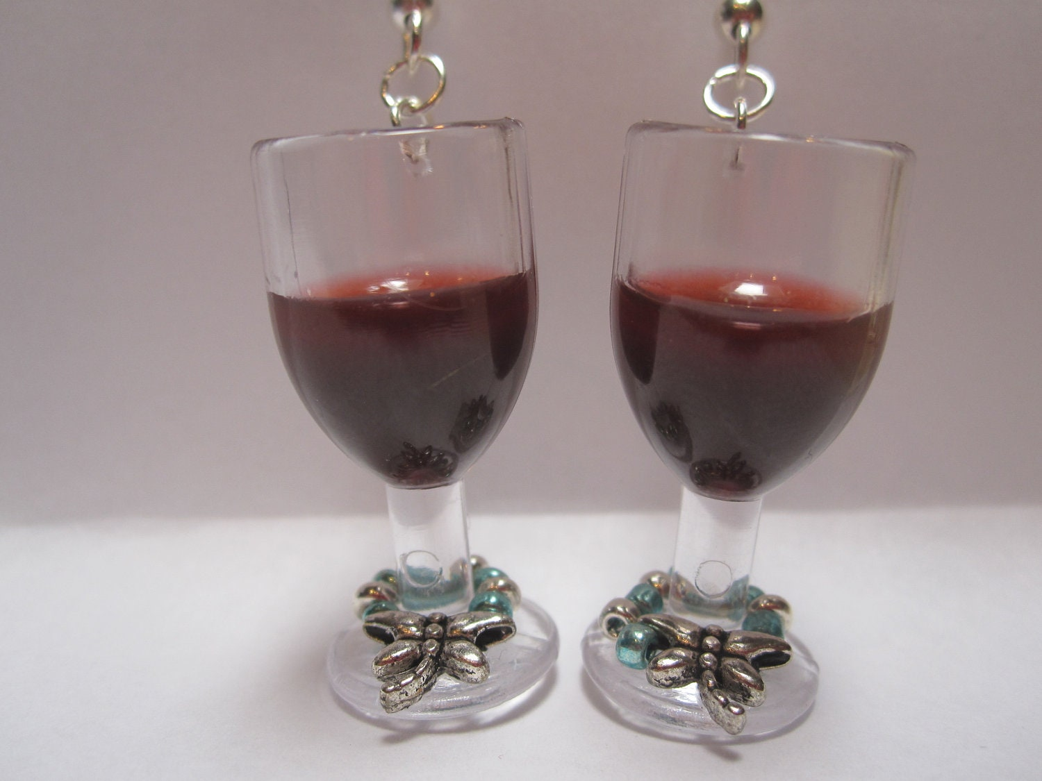 merlot wine earrings with tiny silver dragonfly wine charm