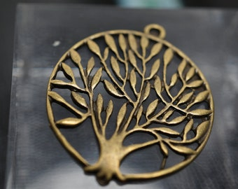Antique Gold Round Tree of Life Charms - 37mm -3 pcs