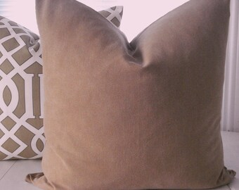 Designer Decorative Pillow Cover -Both Sides -- Tan Throw Pillow -Euro---Tan --Brushed  Stonewashed Cotton Duck
