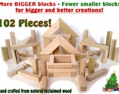 LOWEST PRICE on Etsy - 102 Piece Set - Natural Wood Toy Building Blocks - MORE big blocks - Hand Crafted - Eco-Friendly Toys