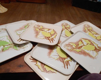 Set of 11 Vintage Metal Trays, Green and yellow Leaf Design