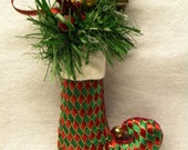 Victorian Christmas Elf Boot Ornament