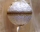 Victorian Christmas Ornament, White Folded Satin Star