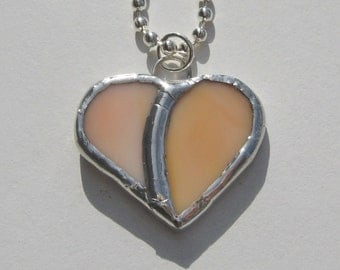 Tangerine Orange Small Heart Stained Glass Pendant Necklace