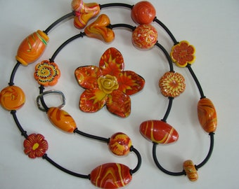 Polymer Clay necklace and flower combo