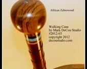 In-Stock, SALE Priced, Free USA Shipping, Custom Walking Cane, No. 2012-03, Twisted Shaft, Purpleheart, African Zebrawood, Fancy Stick