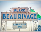 Nice, France Photograph. Cote d'Azur. The Beau Rivage Beach Art Deco Sign. French Riviera 8x12